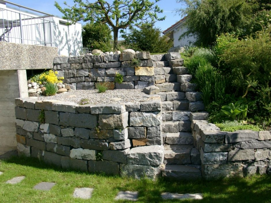 Trockenmauer Guber Quarzsandstein Lagerverband Fugenklasse lll - steinmauer im garten
