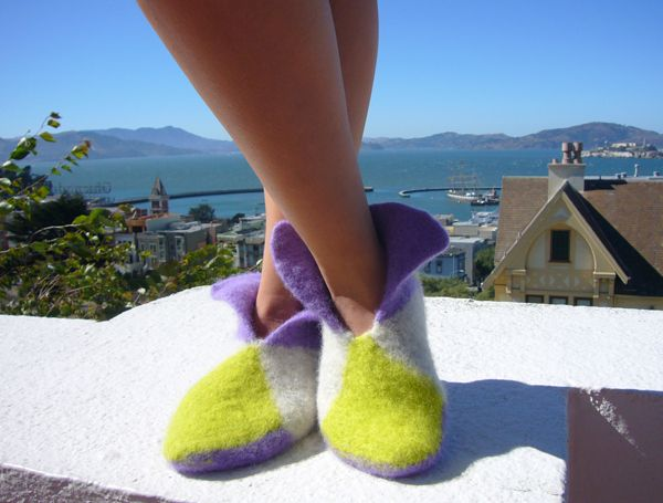 Knitted House Slippers Pattern : Easy House Slippers Puff paint