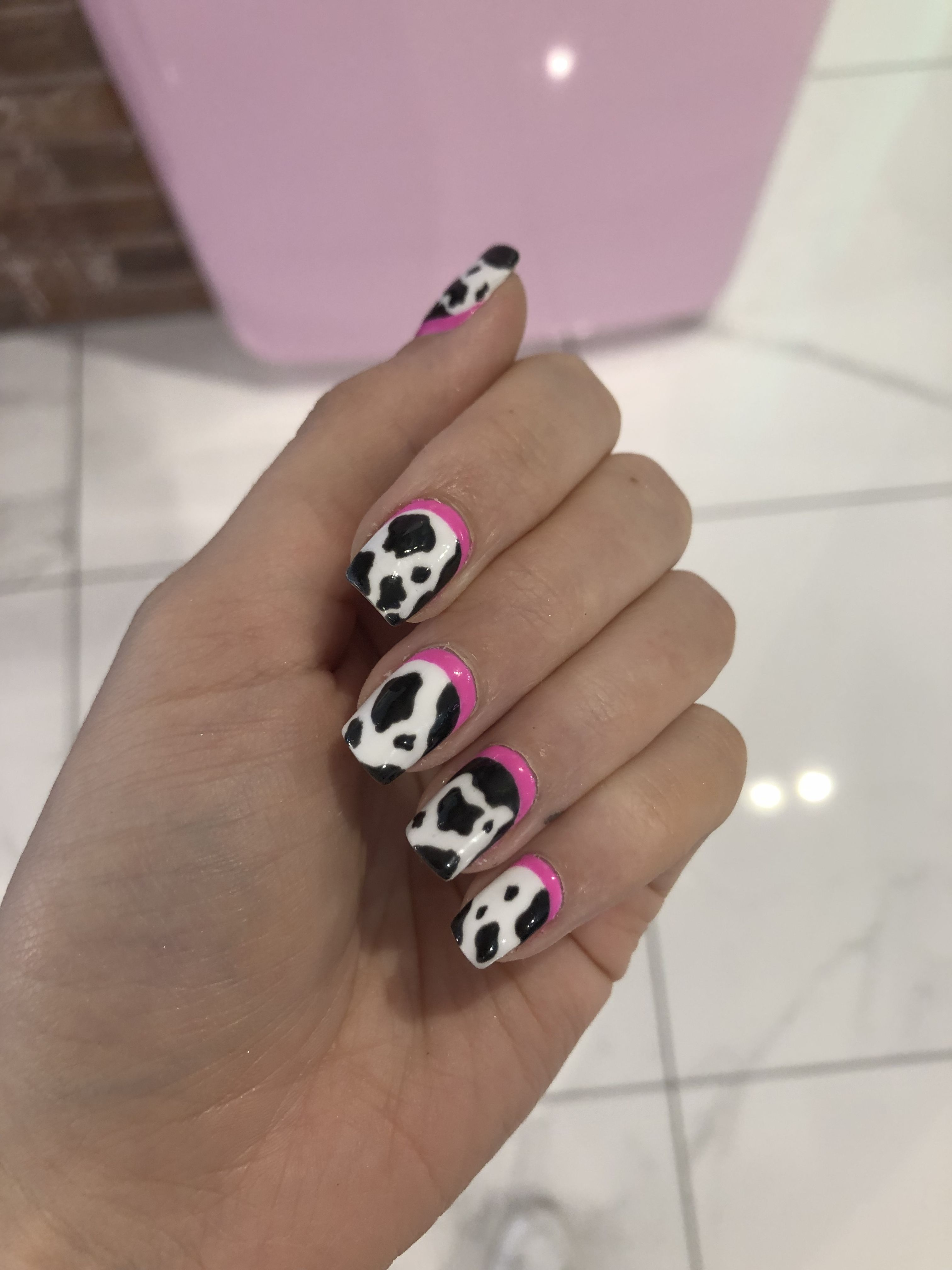 Pink Neon Cow Print Nails Nails Cow Nails How To Do Nails