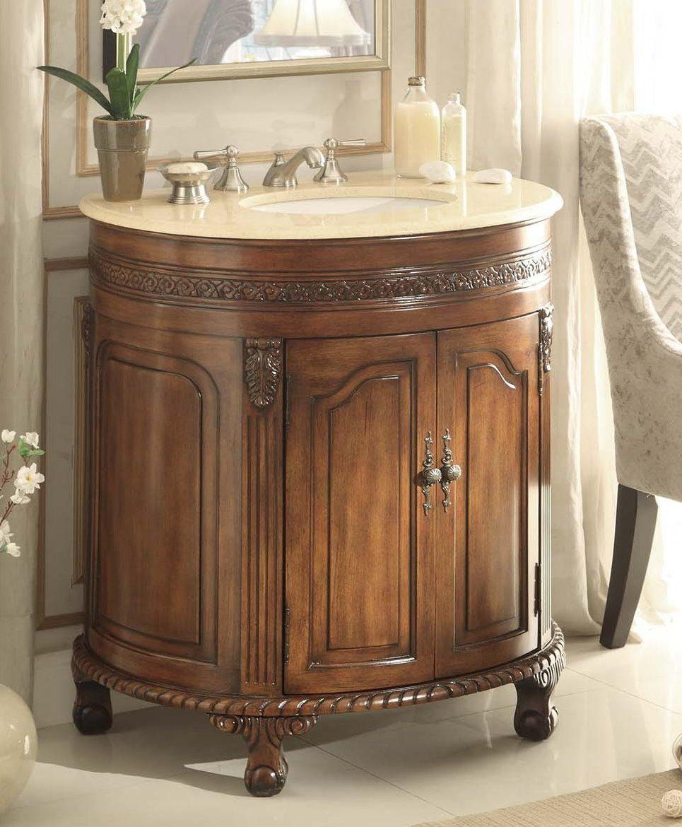 Adelina Inch Antique Bathroom Vanity Cream Marble Countertop My - Round bathroom vanity cabinets