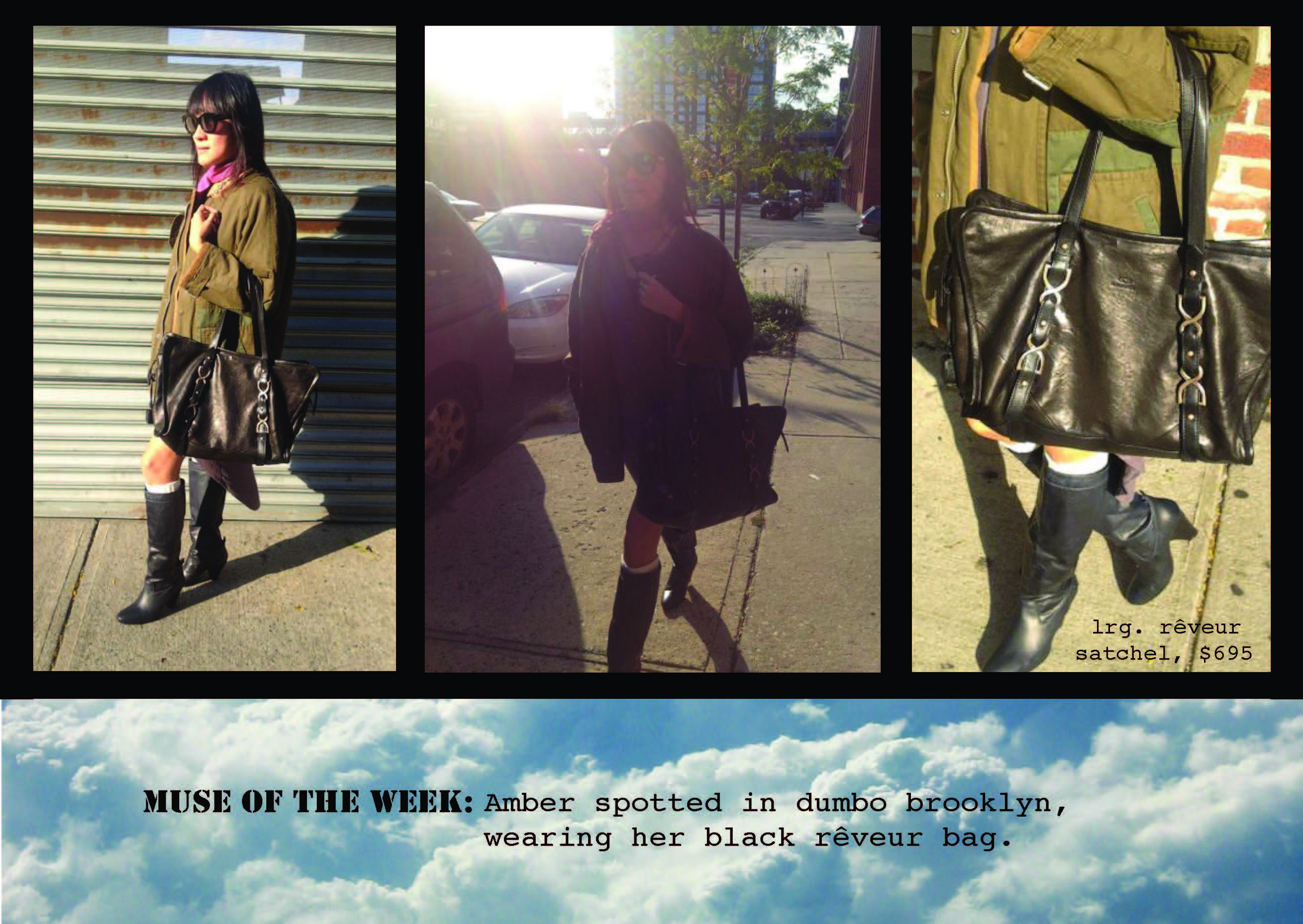 Street Style, snap of Amber with Reveur bag.