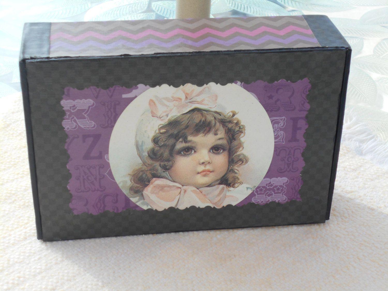Decorative Box, Upcycled Cigar Box, Upcycled Storage Box, Jewelry Box, Trinket Box, Victorian Girl Decorative Box by KimsCountryCorner on Etsy