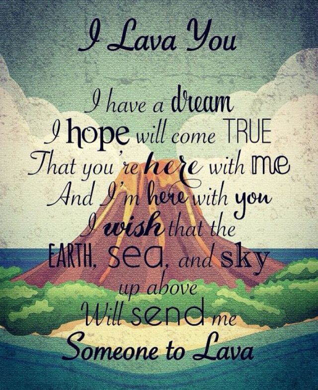 Download Song Quotes: I Lava You Wall Hanging [Pixar Lava Short Lyrics Wall