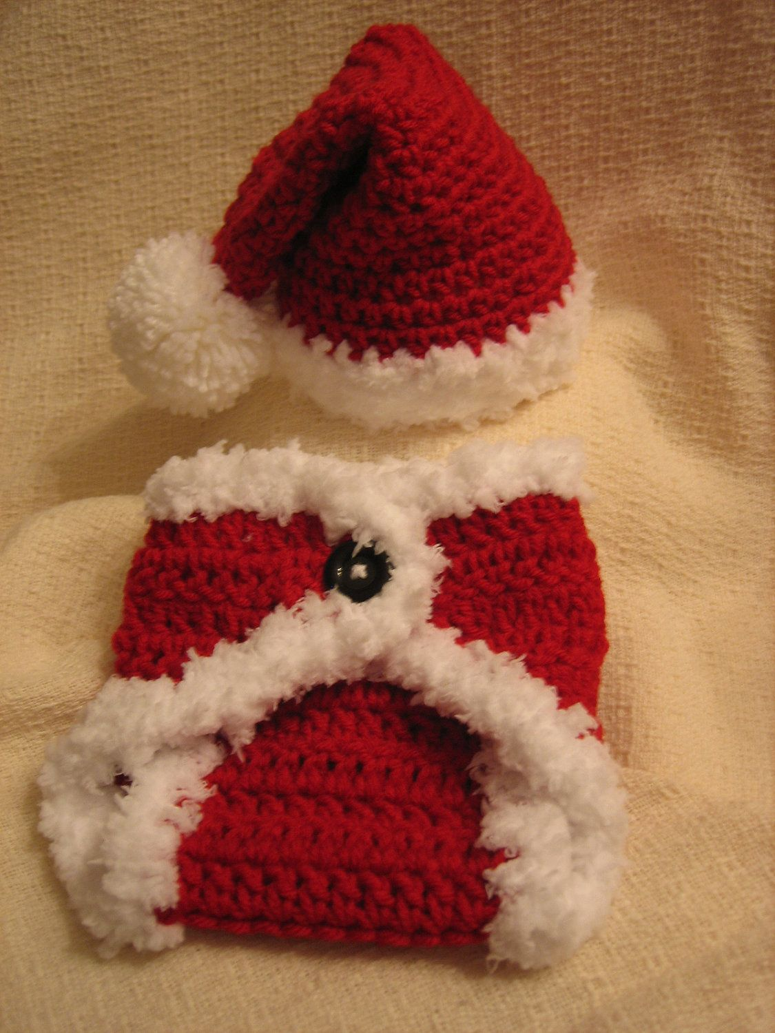 Crochet Christmas Baby Santa Hat and Diaper Cover set - Photo Prop ...