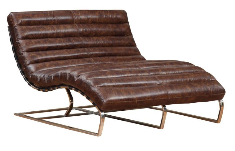 curved brown leather double chaise