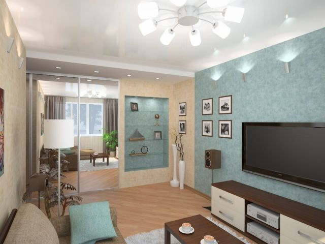 Kleines Wohnzimmer Einrichten Beige Türkis Regale Wandnische Spiegelschrank