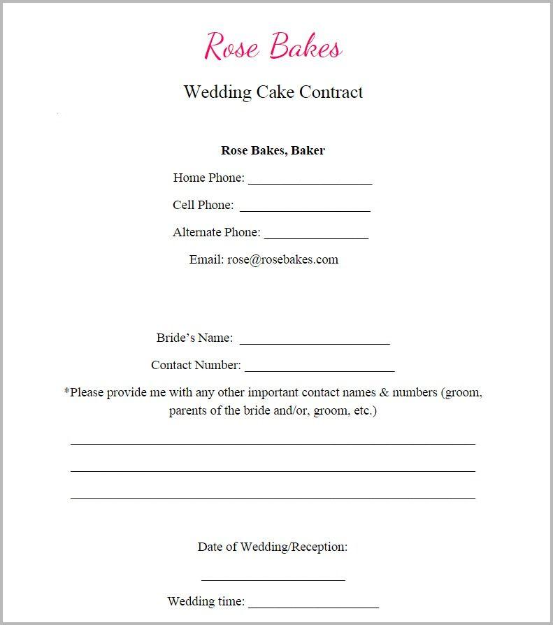 Generic Blank Wedding Cake Contract Cake Decorating