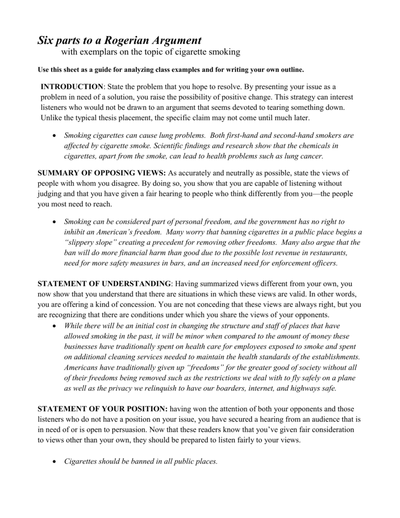 Rogerian Essay Outline Template I The Most Trending Thing N On Smoking Cigarettes