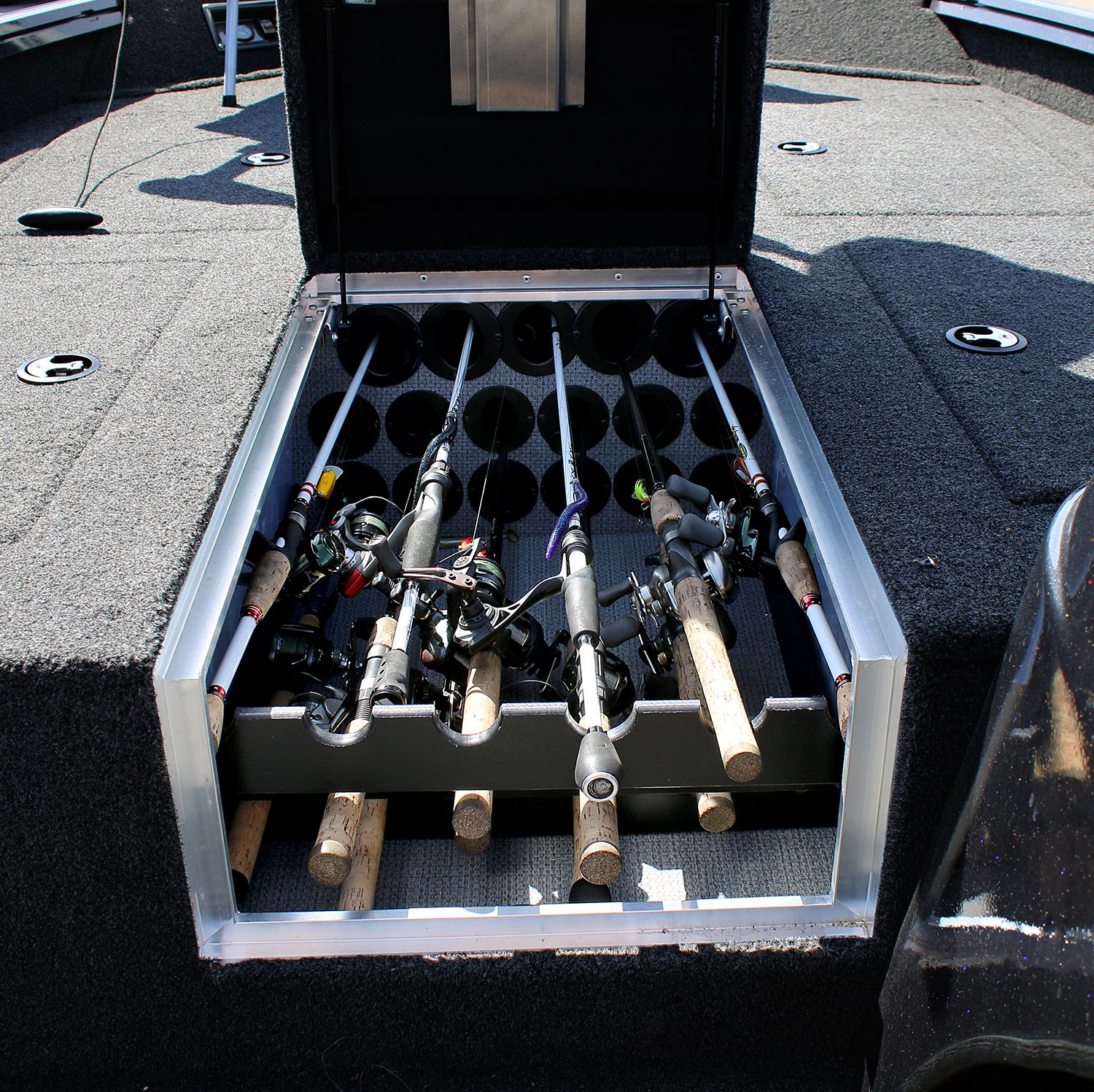 Tons Of Rod Storage In The Polar Kraft Bass Boats Bass Boat Storage Boat Storage Aluminum Fishing Boats