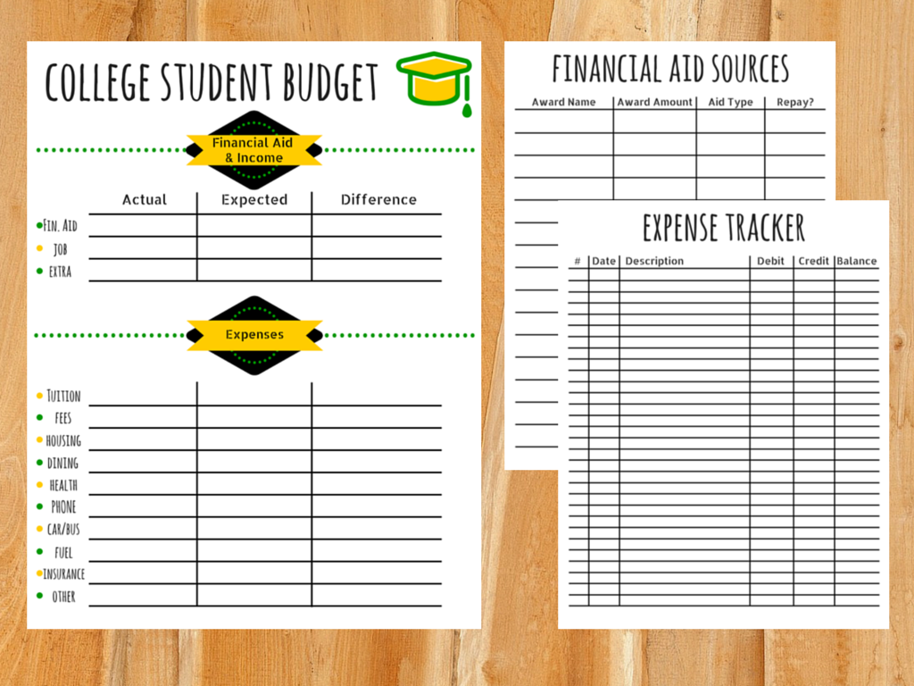 college budget template free printable for students savings