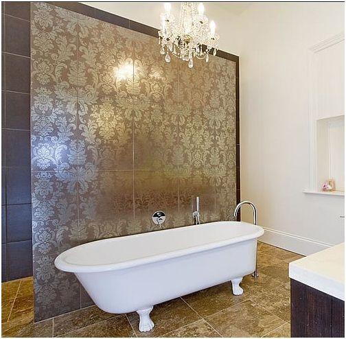 Master Bath Accent Walls Essence Design Studios Llc Bathroom Wall Tile Damask Tile Master Bath Tile