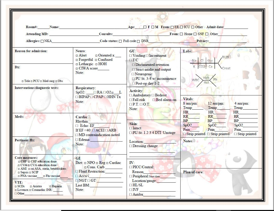 Nurse S Report Sheet With Images