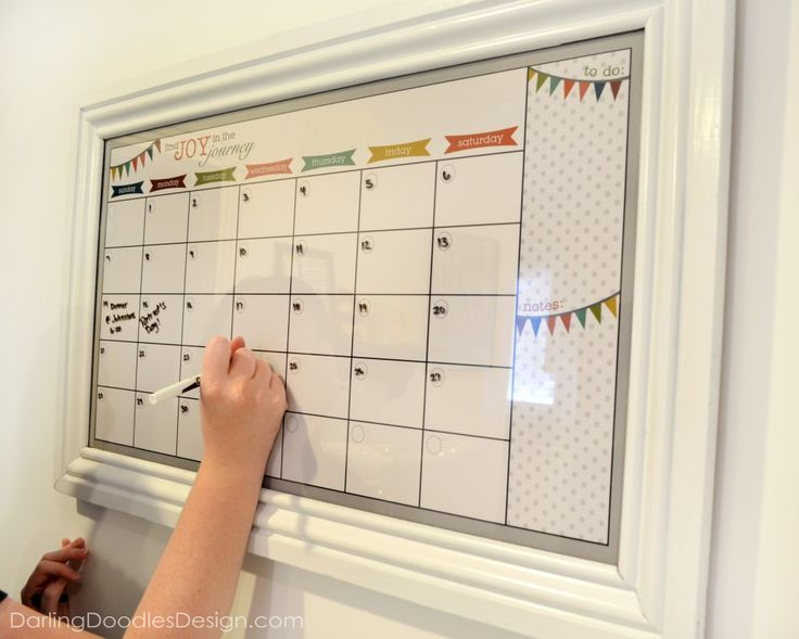 DIY Dry Erase Calendar get a cheap frame from the thrift store - sample birthday calendar
