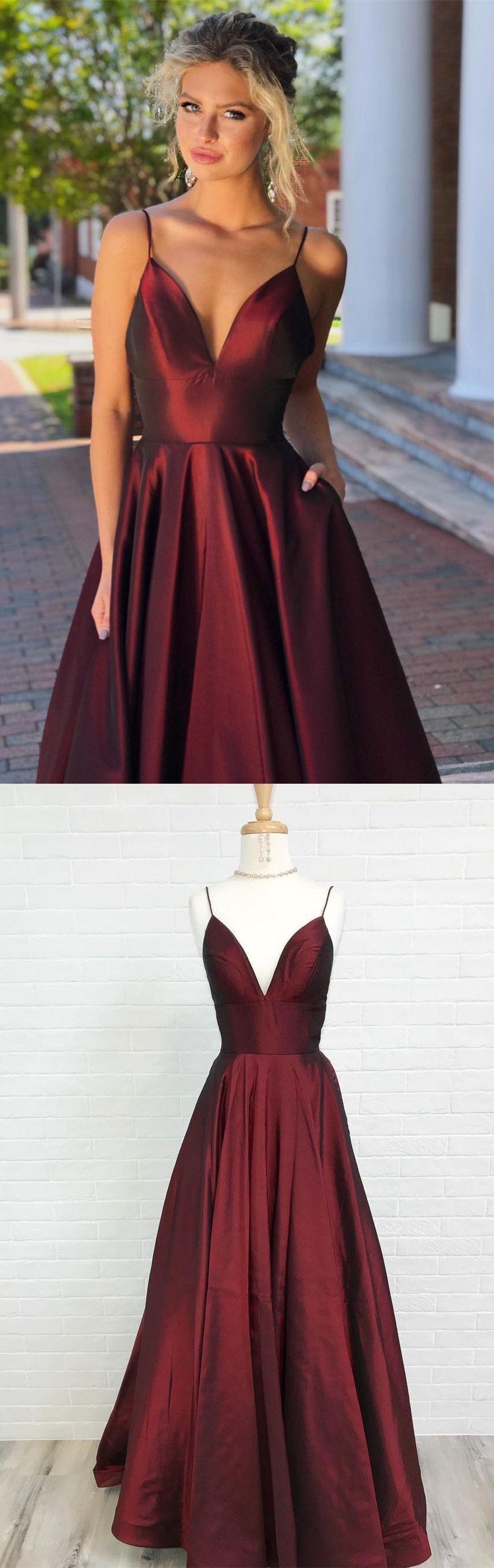 long prom dress homecoming dress simple straps burgundy long