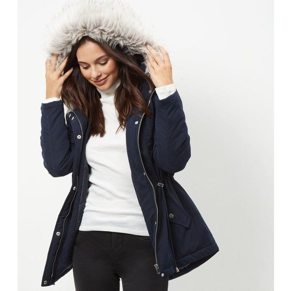 New Look Navy Faux Fur Trim Hooded Parka (60 CAD) ❤ liked on ...