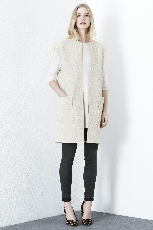Jackets & Coats | Cream SLEEVELESS QUILTED JACKET | Warehouse ...