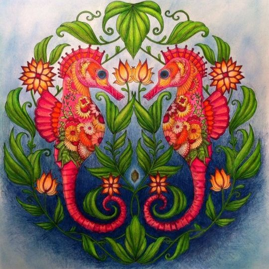 seahorses bright neon coral colorful finished coloring page