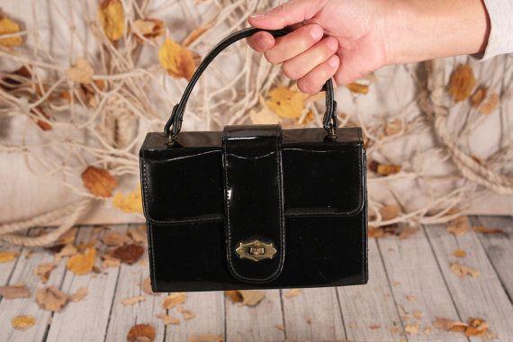Vintage Black Leather Messenger Bag  Messenger Black Satchel  Military Bag 60s 70s