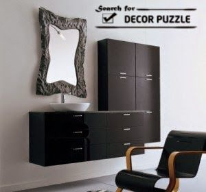 Black Wall Mounted Dressing Table Ideas For Modern Bathroom