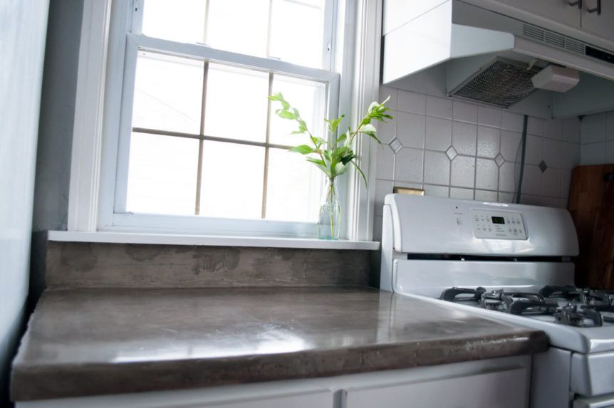 Feather finish concrete over tile counters tile counters