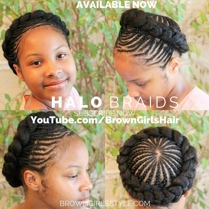 Halo Braids Brown Girls Natural Black Hair Style Braided Crown Hairstyles Kids Braided Hairstyles Braided Hairdo