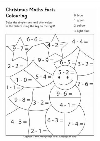 Free Printable Christmas Math Coloring Pages