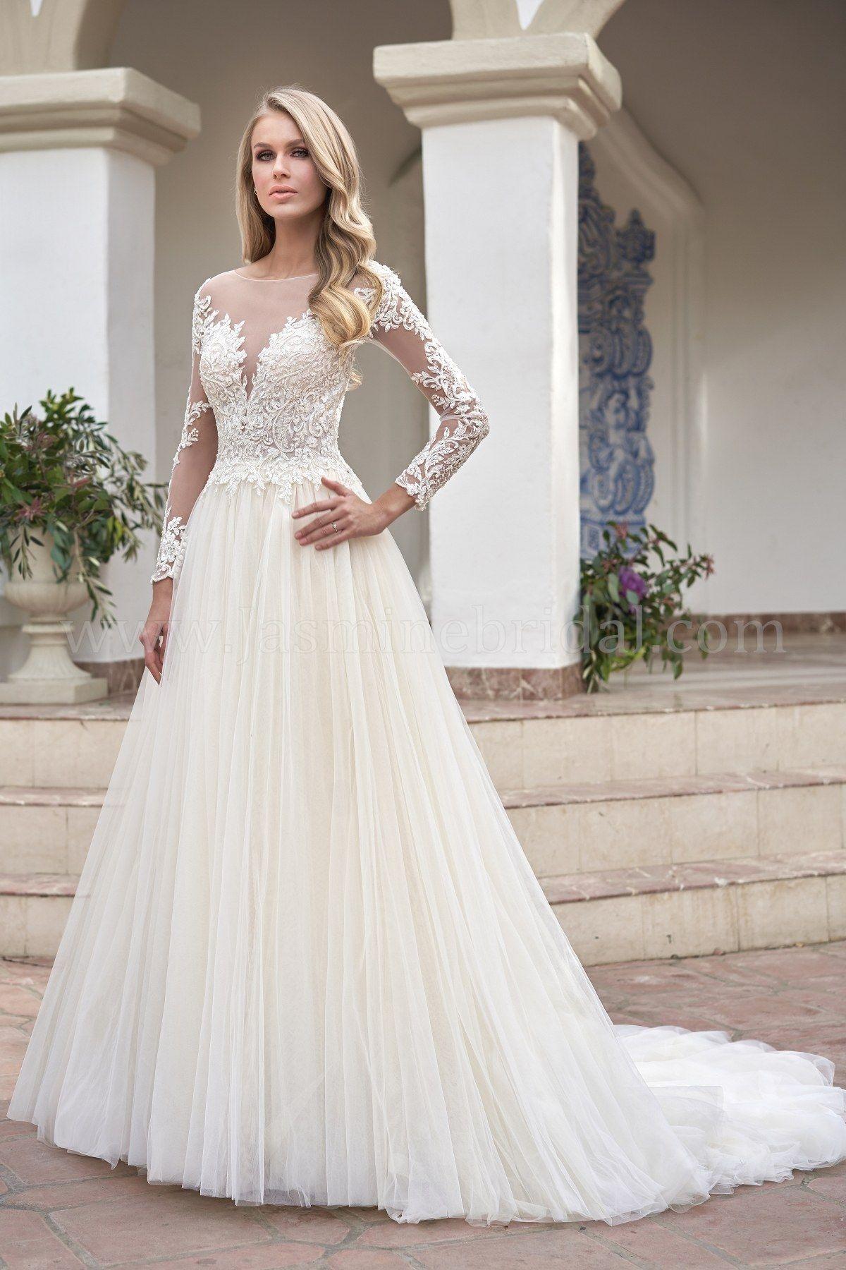 Long sleeve plus size wedding dress  Jasmine Bridal  Couture  Long Sleeve Wedding Dress  Illusion
