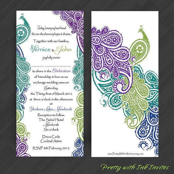 Peacock Feather Wedding Jeweled Feathers Bokeh Invitations ...