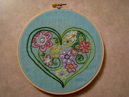 embroidery hoopla, flowers