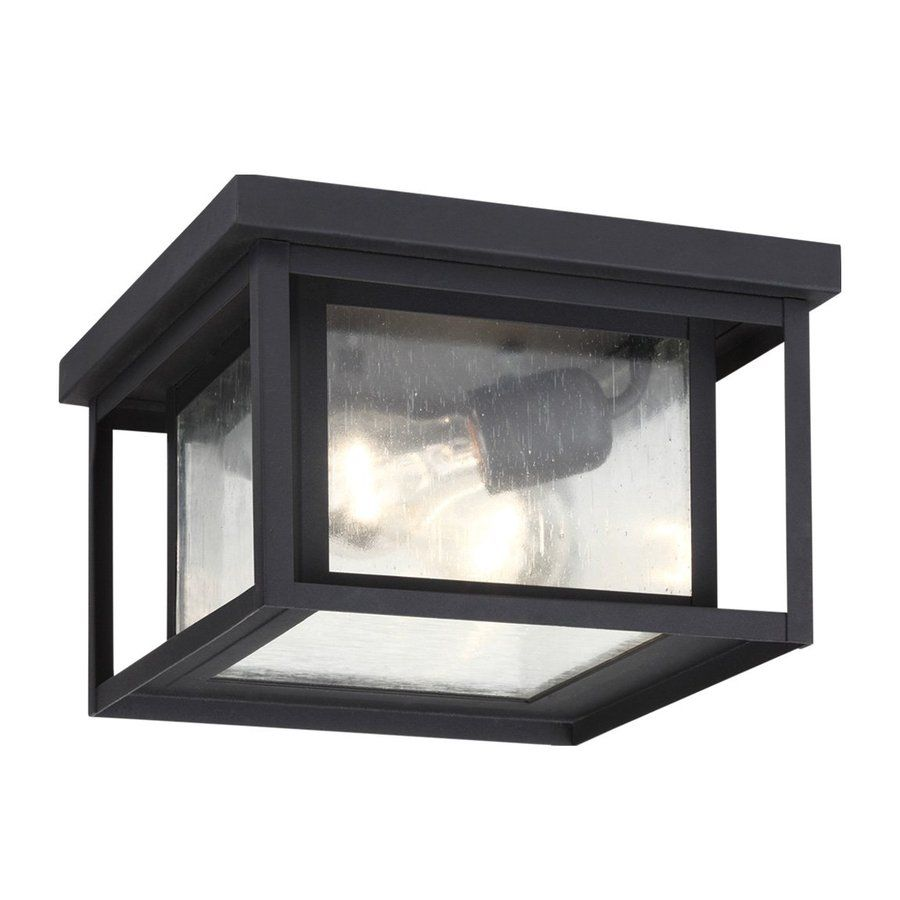 Sea gull lighting hunnington in w black outdoor flushmount