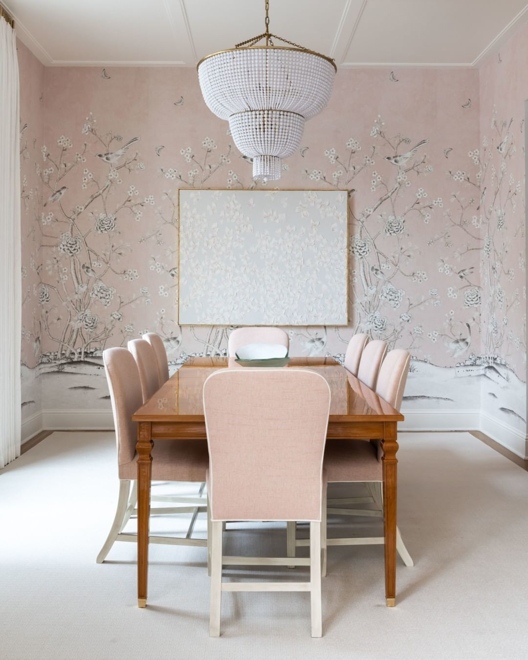 Dining Room In Schumacher Mary Mcdonald Chinois Palais Blush