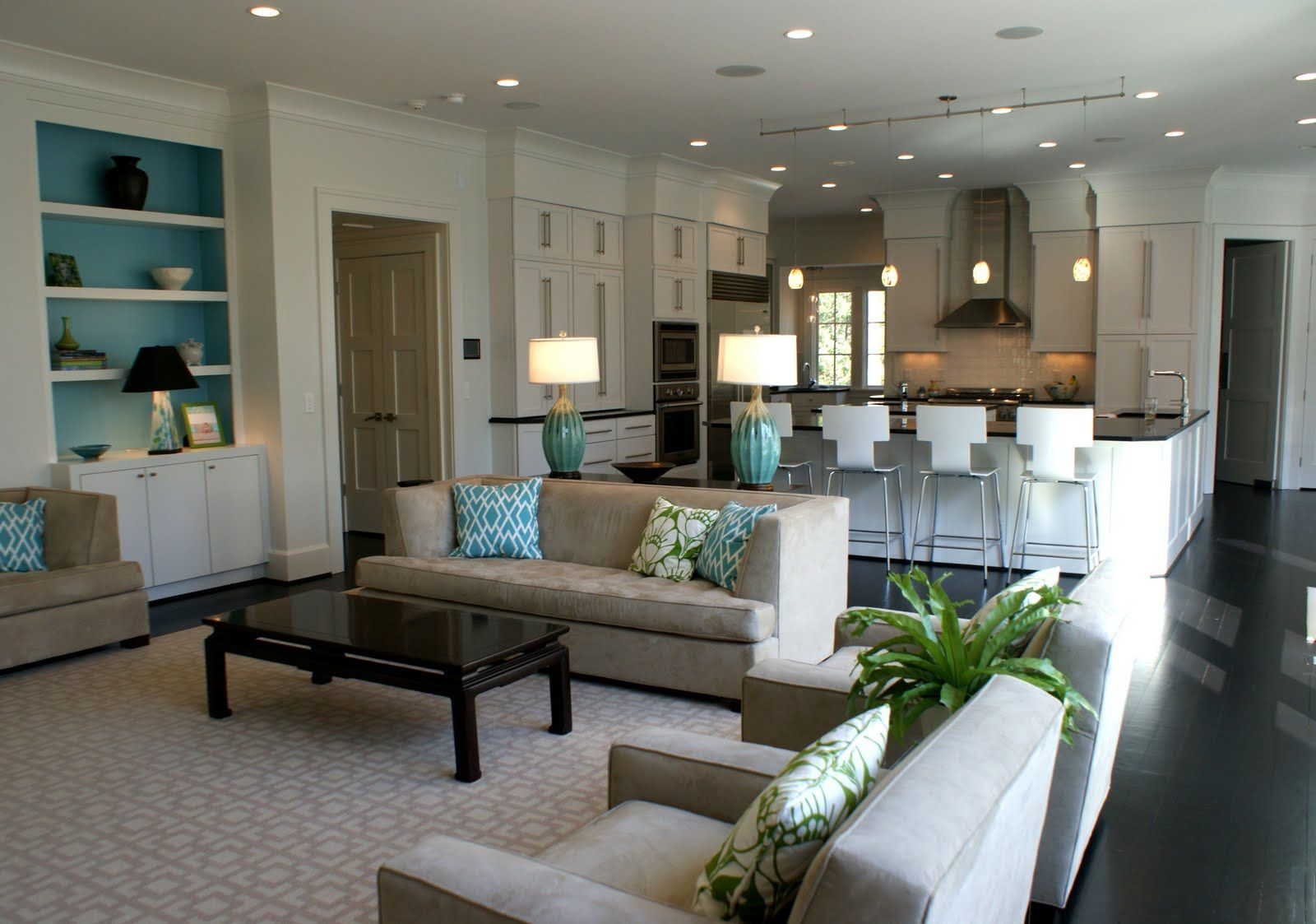 Small entry way connected to family room love the coffee - How to decorate an open kitchen with living room ...