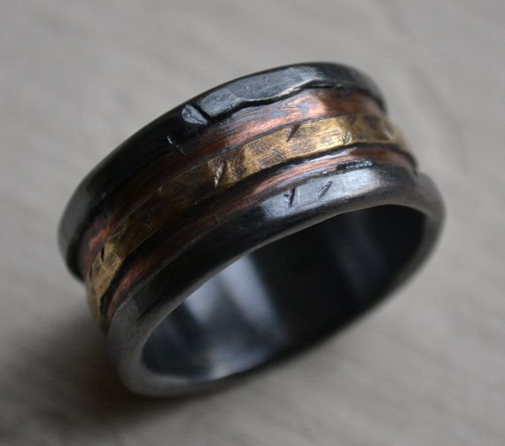 Mens Wedding Band Rustic Fine Silver Copper And Br Handmade Designed Wide Ring Manly Customized On Etsy 285 00