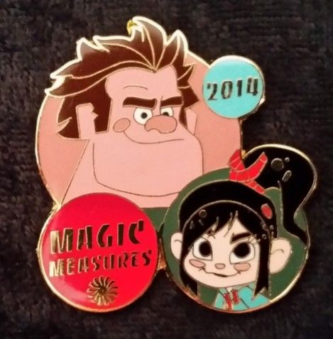3345 - Wreck it Ralph Magic Measures Pin - Ralph and Vanellope | Released: Unknown! - Limited Edition 0 | This is a cast member only pin featuring Ralph and Vanellope from Disney's Wreck it Ralph. It was only given to cast members who provided exceptional and extraordinary service.
