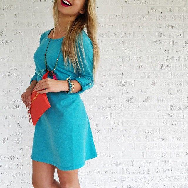 Look • & • feel gorgeous • on the regular | Non-Stop Dress • Tiki Tassel Necklace • Double Zip Mini Crossbody Bag