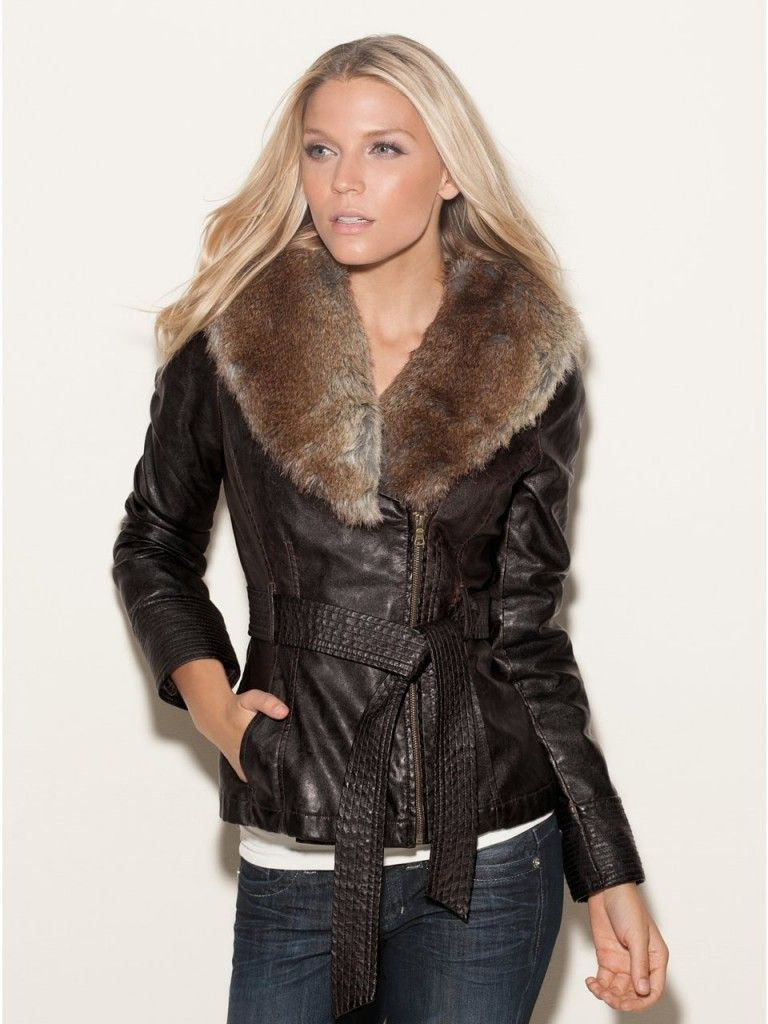 Guess Kason Faux Leather Coat Clothes For Gals