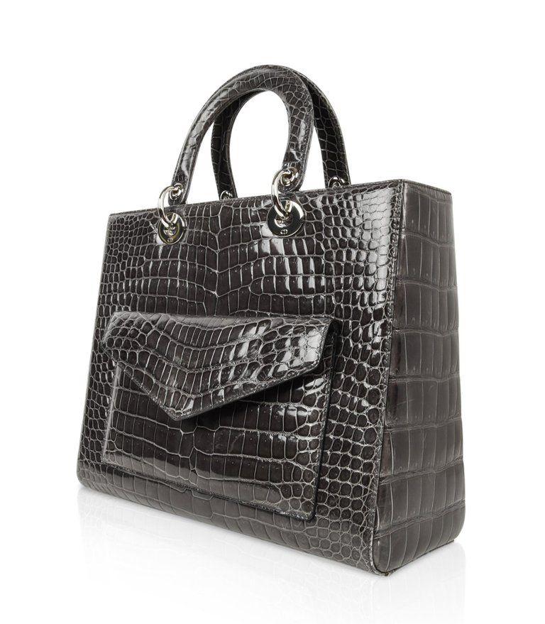 Christian Dior Lady Dior Front Pocket Gray Crocodile Bag With Shoulder Strap  For Sale 3 b607e9571c3d2