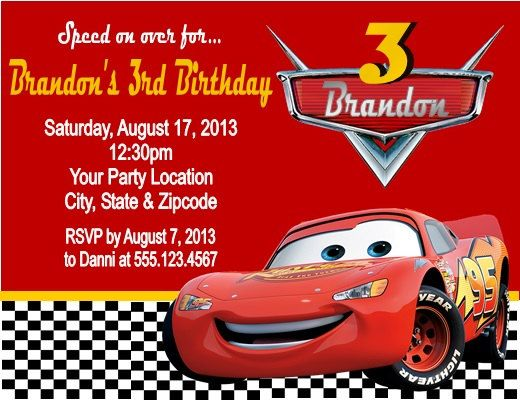 Details About Cars Lightening Mcqueen Birthday Party Invitations