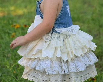 Burlap and Lace Flower Girl Dresses | and lace flower girl country wedding easter shabby chic rustic burlap ...