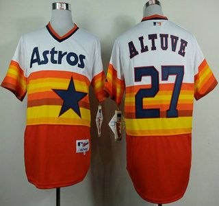 f84dfa83 Houston Astros Jersey 27 Jose Altuve White With Orange Throwback Jerseys