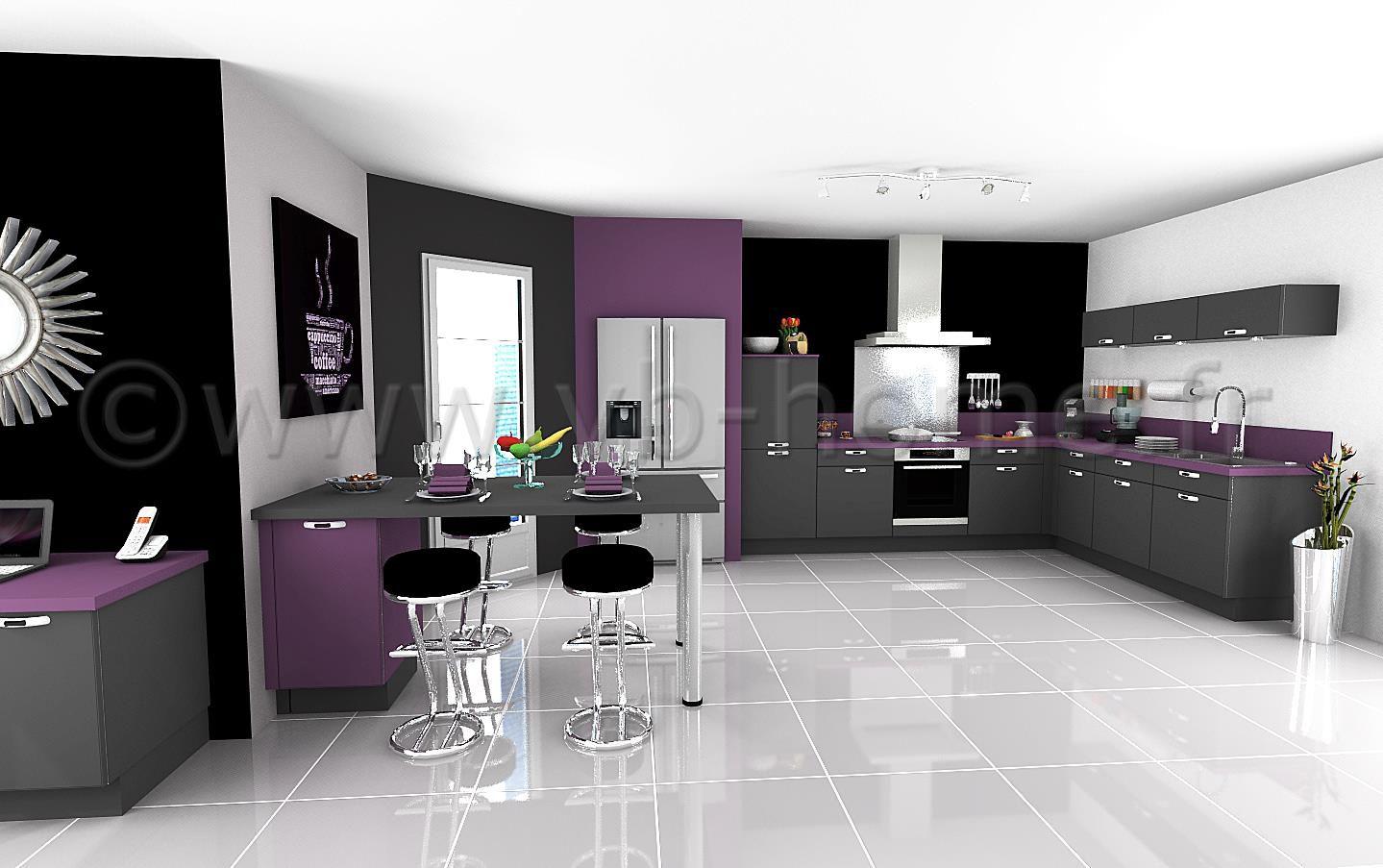 Cuisine Blanc Gris Violet grande cuisine ouverte, moderne avec façades gris/violet