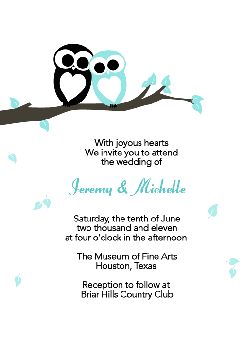 black and blue love owls wedding invitation template идеи для