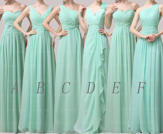 Long Bridesmaid Dresses Chiffon Dress Mint Mismatched Cm082