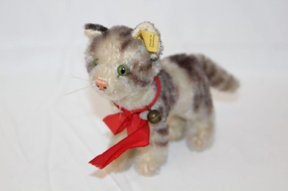 Steiff Tabby Cat Mohair Plush Stuffed Animal Vintage Red