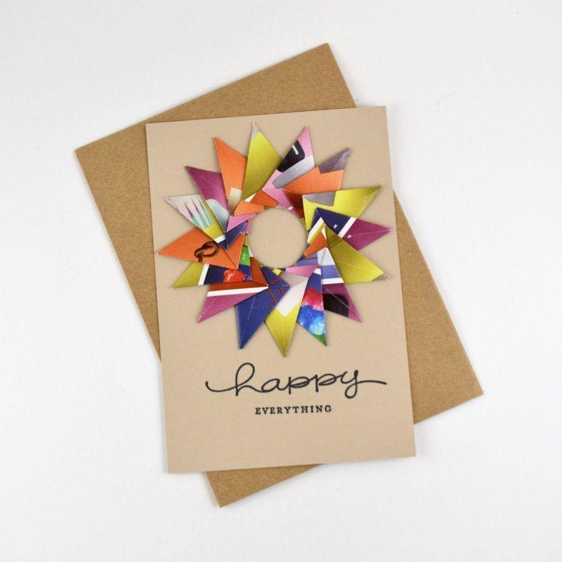 Recycled Handmade Greeting Card Tiny Yellow Bungalow Greeting Cards Handmade Greeting Cards Diy Handmade Greetings
