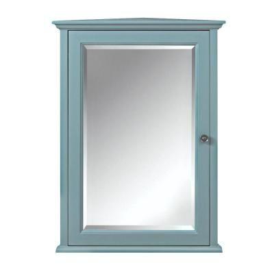 Home Decorators Collection Hamilton 20 In W X 27 In H X 12 In D Corner Bathroom Storage Wall Cabinet In Sea Glass 0567700310 The Home Depot Medicine Cabinet Mirror Home Decorators Collection Mirror Cabinets
