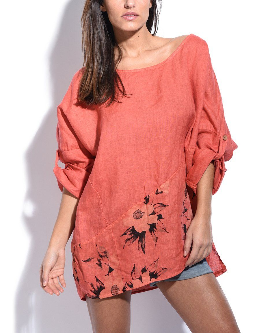 Take a look at this Couleur Lin Coral Floral Oversize Linen Tunic ...