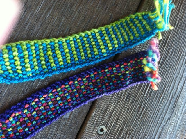 Simple ways to use leftovers of The Sheepwalk hand dyed Gems merino fingering yarn.