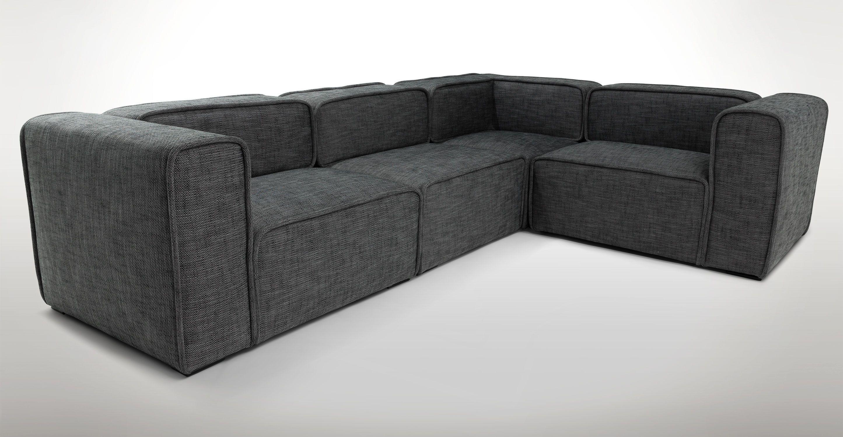 Gray Modular Sectional Sofal Upholstered