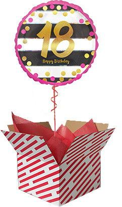 Pink And Gold 18th Birthday Helium Balloon Delivered 18thBirthday Balloons